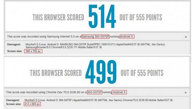 Điểm benchmark của Galaxy S10 Lite (trên) và Galaxy S10 (dưới)