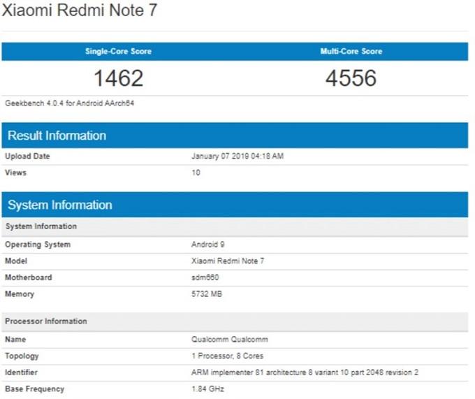 Điểm Geekbench mà Redmi Note 7 đạt được