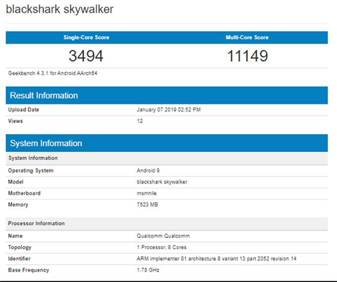 Điểm Geekbench của Xiaomi Shark 2 cho thấy sức mạnh của con chip Snapdragon 855