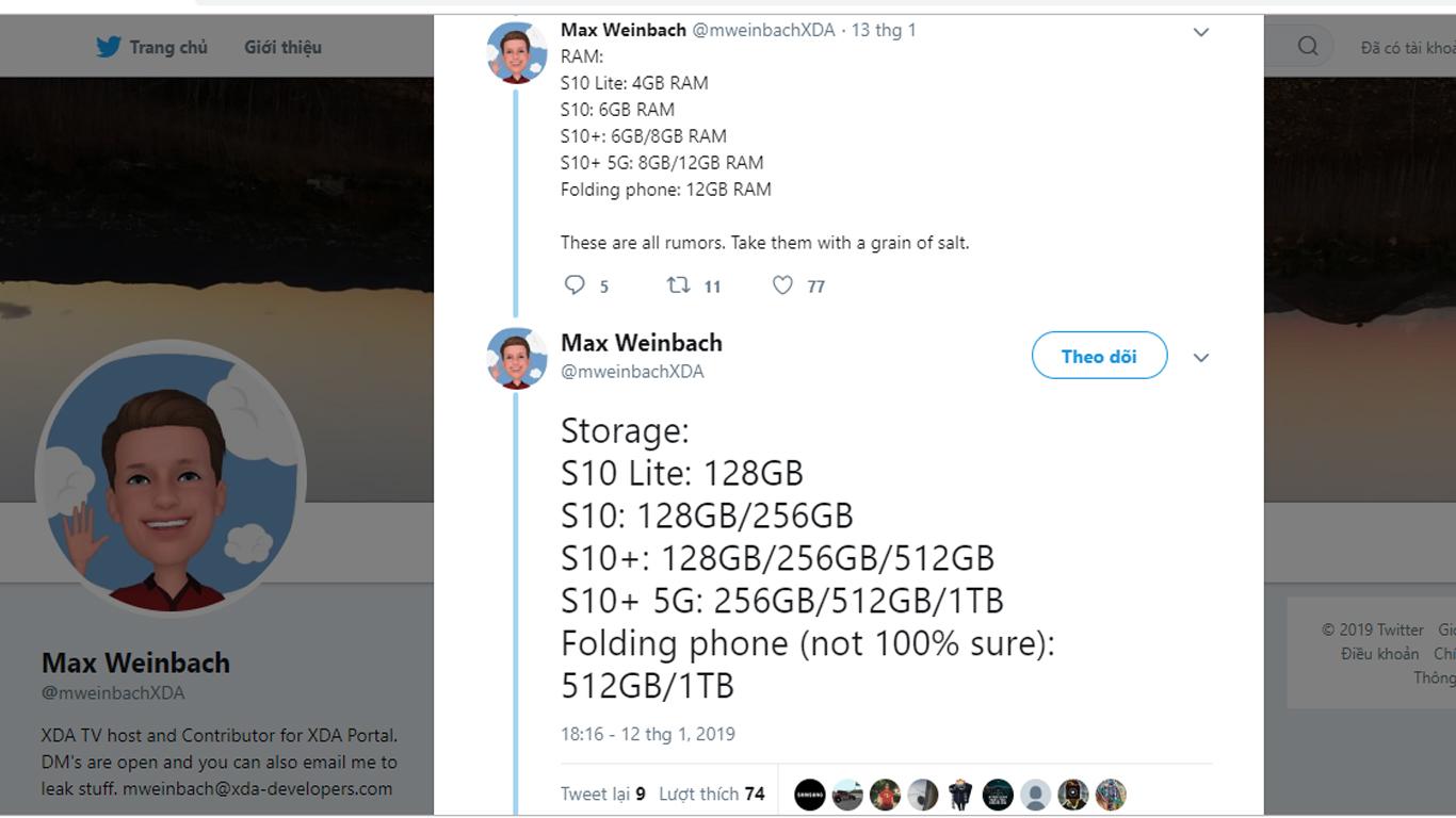 Bộ nhớ lưu trữ dòng Galaxy S10 vừa được hé lộ với nhiều phiên bản tùy chọn