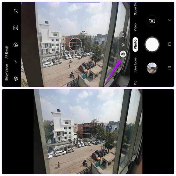 Điều chỉnh tự động ảnh chụp góc rộng trên Galaxy s10 Plus