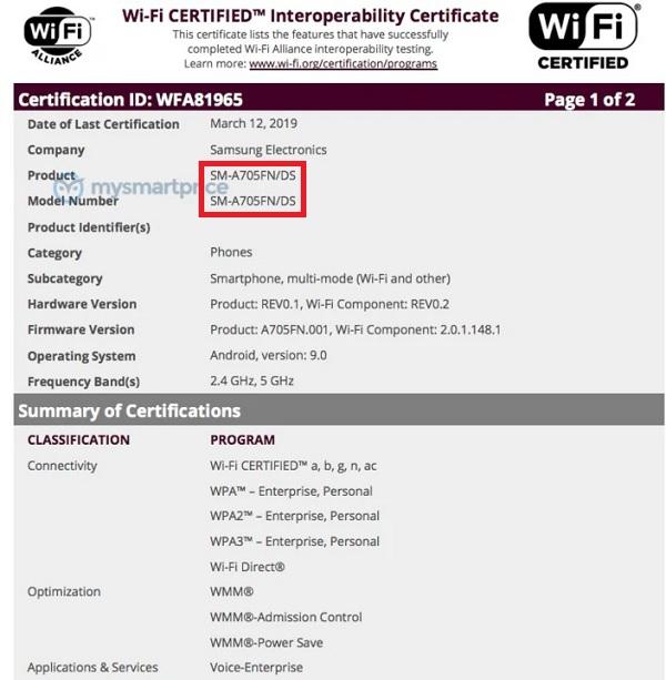 Galaxy A70 vừa đạt chứng nhận Wifi, sẵn sàng chờ ngày xuất kích
