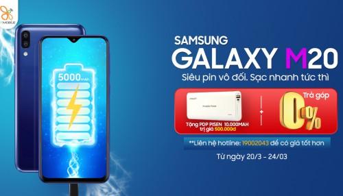 Mua Galaxy M20 chính hãng, tặng thêm pin dự phòng Pisen 10.000 mAh giá 500K