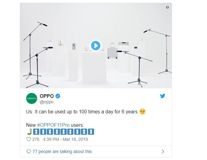 Đoạn Twitter về độ bền của Oppo F11 Pro