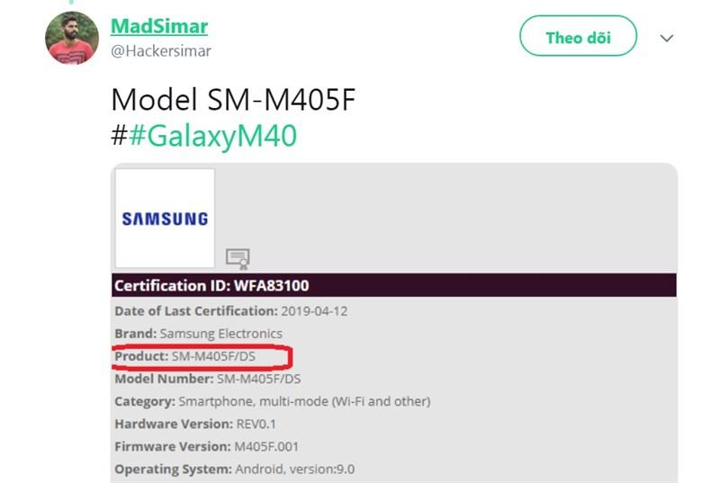 Samsung Galaxy M40 đạt chứng nhận Wi-Fi chuẩn bị ra mắt