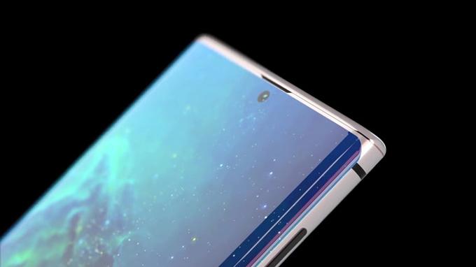 Galaxy Note 10 lộ ảnh concept màn hình Infinity-O, 4 camera sau