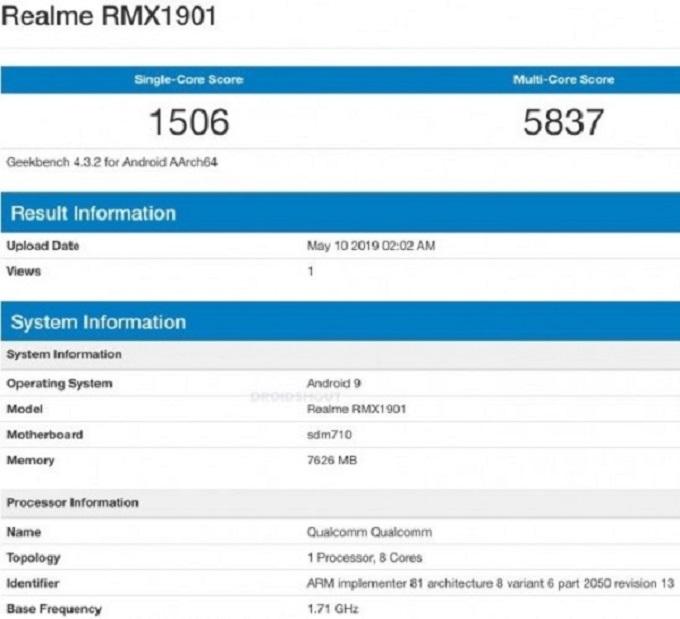 Realme X sẽ sử dụng bộ vi xử lý Snapdragon 710 với 8GB RAM