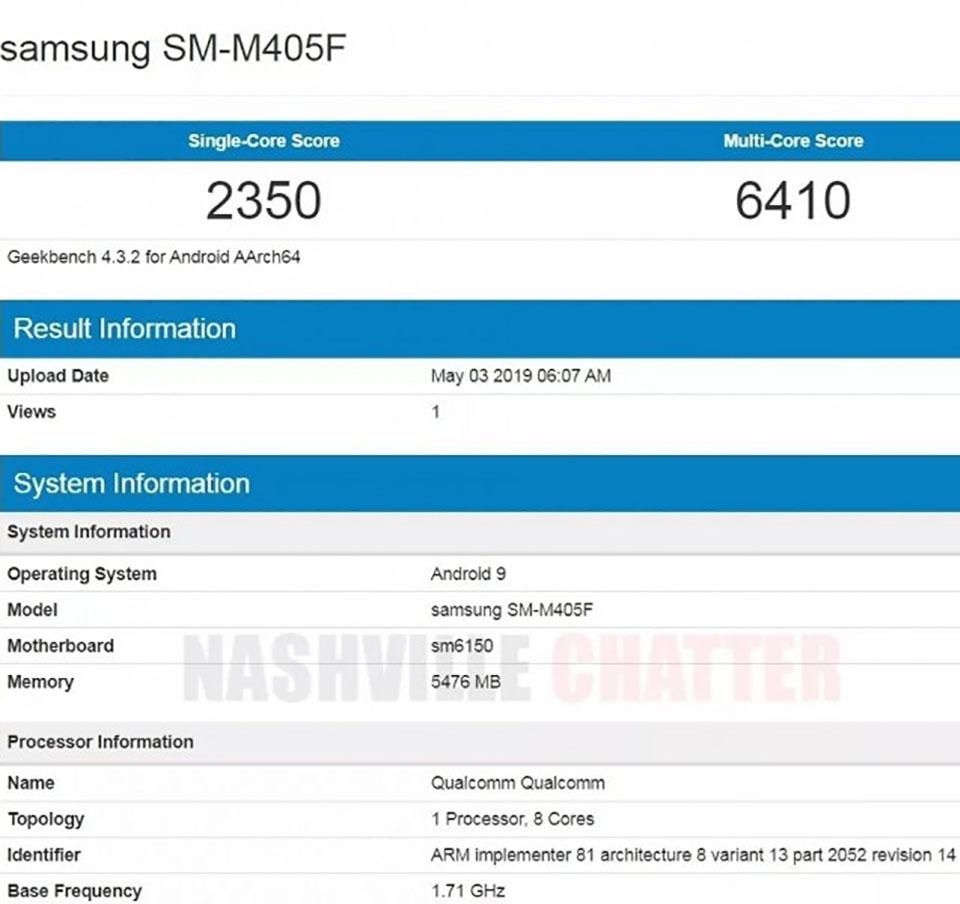 Galaxy M40 lộ cấu hình trên Geekbench: Snapdragon 675, RAM 6GB