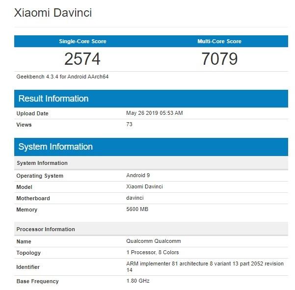 Redmi K20 lộ điểm hiệu năng trên Geekbench với chip Snapdragon 730