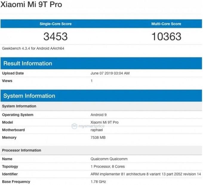 Mã Mi 9T Pro trên Geekbench là raphael