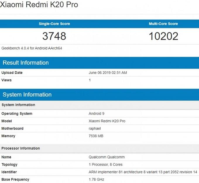 Mã Redmi K20 Pro trên Geekbench cũng là raphael