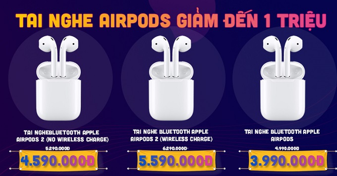 Tai nghe Apple Airpods 1 - 2 giảm đến 1 triệu tại XTmobile