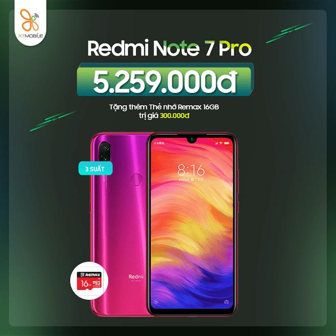 Redmi Note 7 Pro ưu đãi đến 500K tại XTmobile
