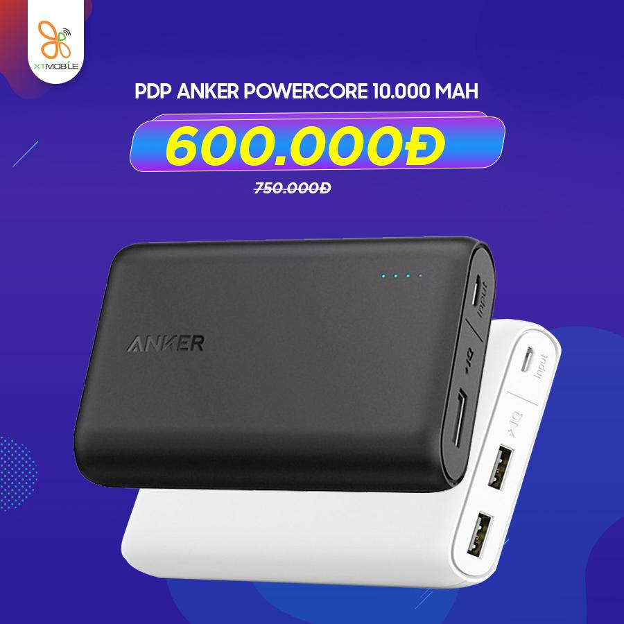 Pin dự phòng Anker Powercore 10.000 mAh giá 750.000đ giảm 150.000đ chỉ còn 600.000đ