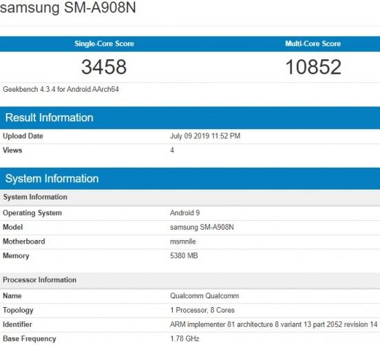 Galaxy A90 5G lộ cấu hình trên Geekbench với chip Snapdragon 855