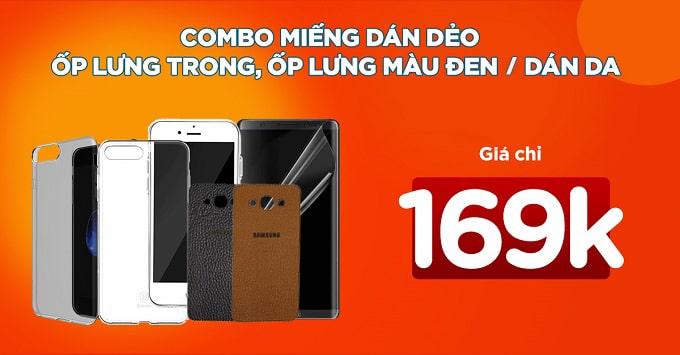 Combo 2 phụ kiện bảo vệ điện thoại giảm đến 22%