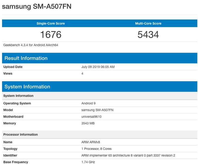 Samsung Galaxy A50s được biết đến với mã model SM-A507FN