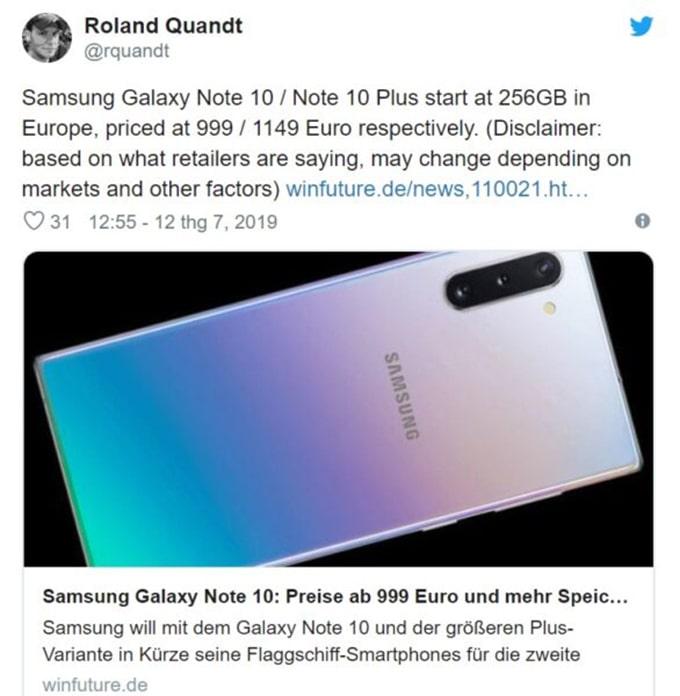 Giá bán Galaxy Note 10, Note 10 Plus rò rỉ