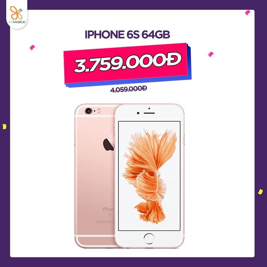 iPhone 6S 64GB giá 4.059.000đ giam thêm 300.000đ chỉ còn 3.759.000đ