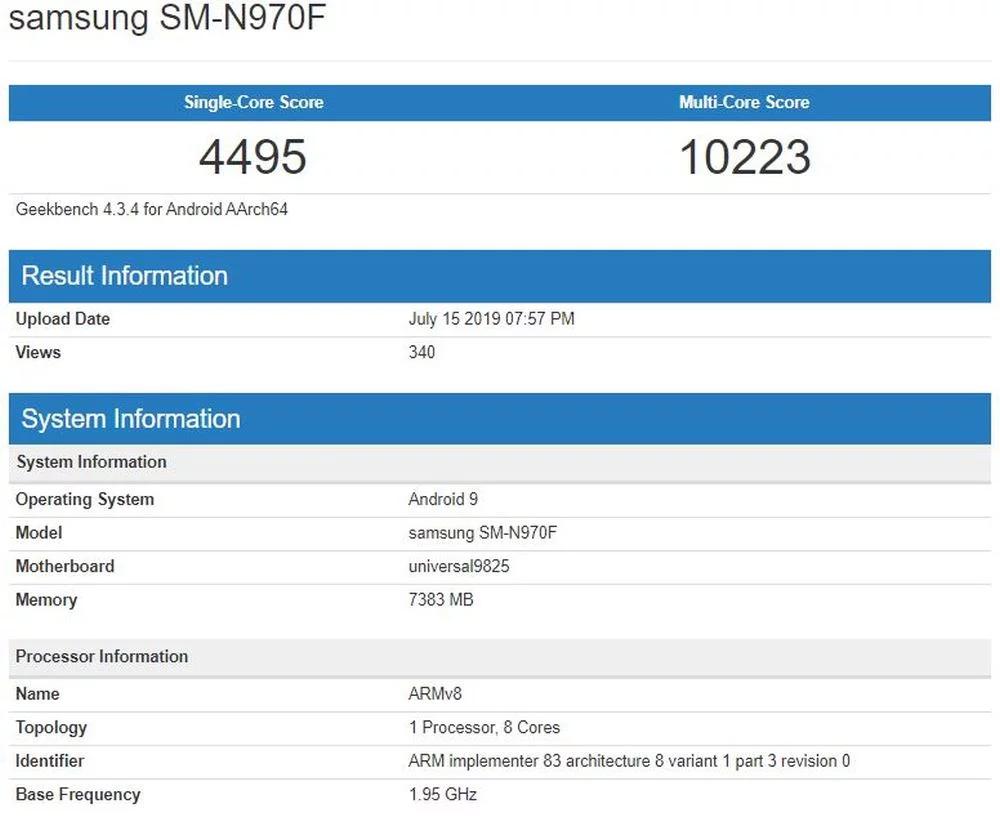 Galaxy Note 10 tiêu chuẩn sẽ được trang bị RAM 8GB