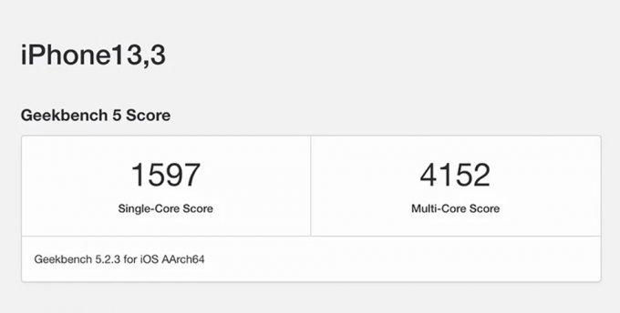 iPhone 12 Pro ghi được điểm số hiệu năng cực kỳ ấn tượng là 1,597 điểm trong bài kiểm tra đơn nhân và 4,152 đa nhân