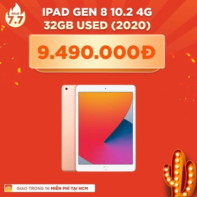 iPad Gen 8 32GB Wifi & 4G cũ giảm thêm 1.500.000đ