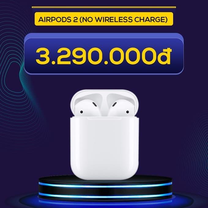 Tai nghe Bluetooth Airpods 2 (No Wireless Charge) (VN/A) giảm thêm 900.000đ, giá khuyến mãi chỉ còn 3.290.000đ