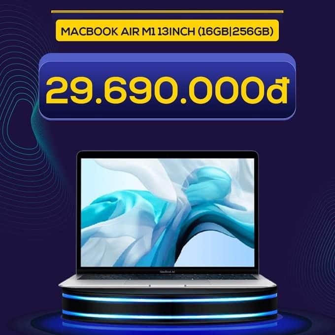 Macbook Air M1 13inch (16GB|256GB) (VN/A) giảm thêm đến 3.300.000đ, giá khuyến mãi chỉ 29.690.000đ