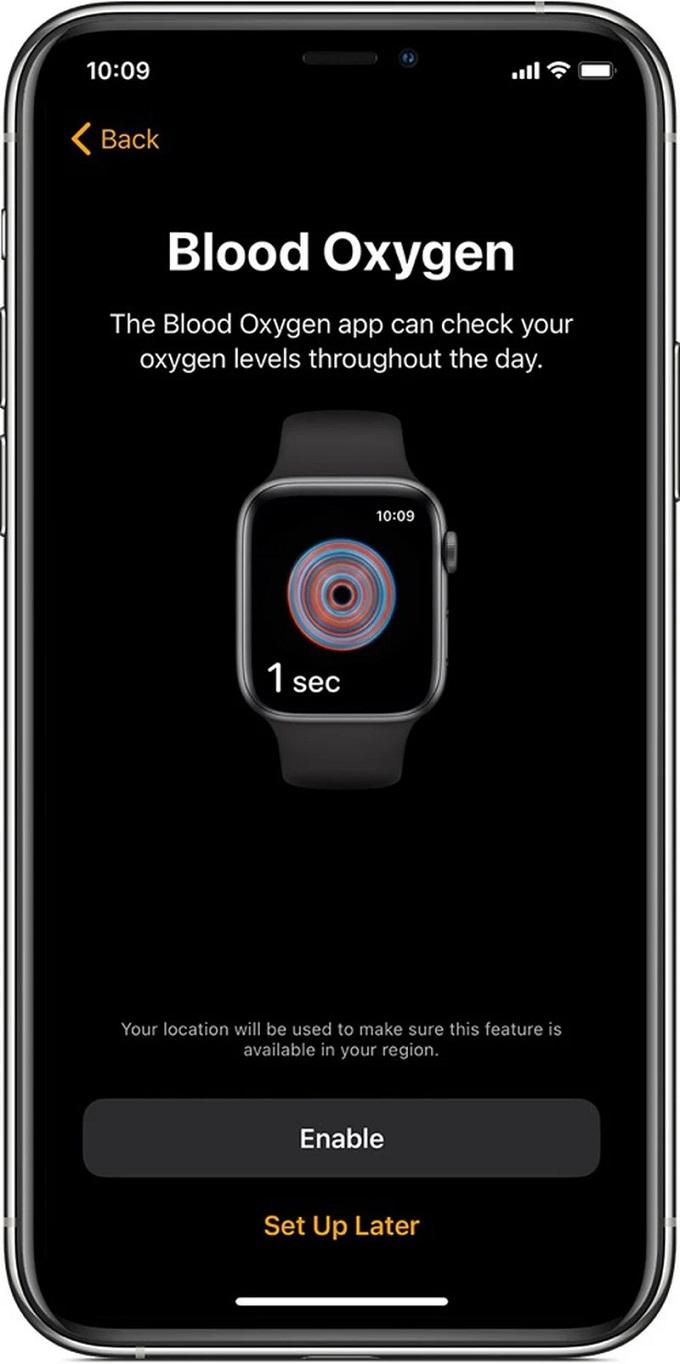 Kích hoạt tích năng đo nồng độ oxy trong máu