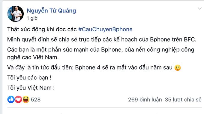 Tin đăng của CEO Nguyễn Tử Quảng trên group của Bphone