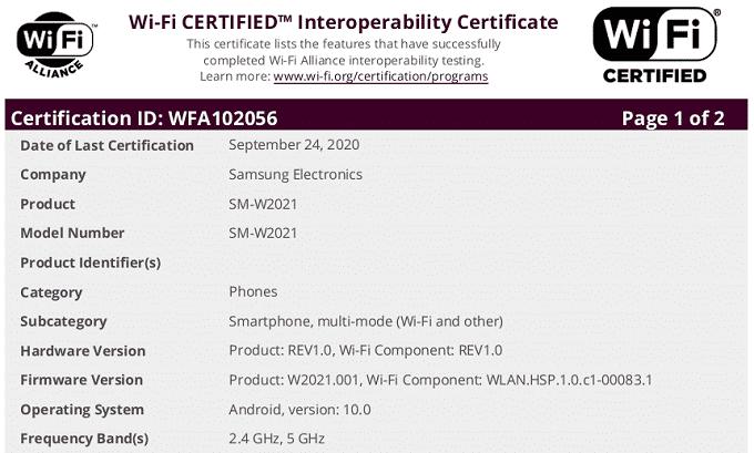 Chứng nhận Wifi Alliance cho Galaxy W21 5G