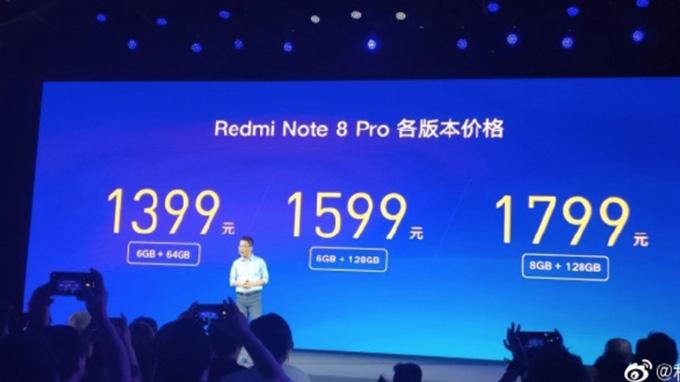 Giá bán Redmi Note 8 Pro mới ra mắt
