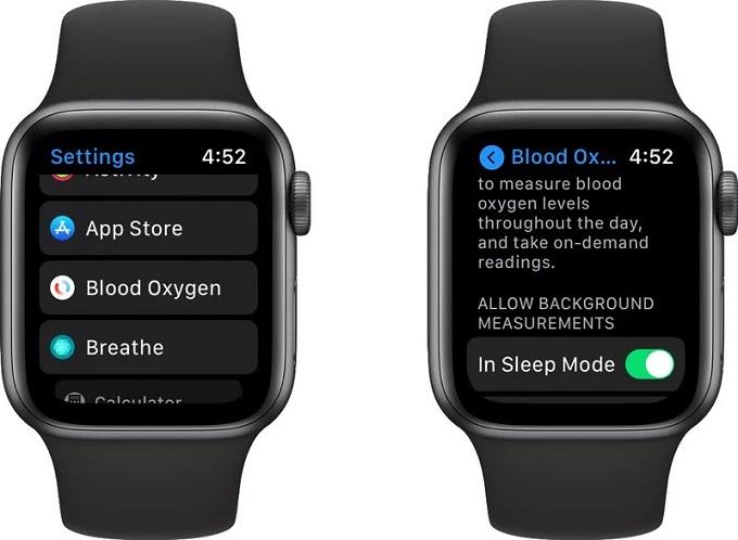 Bật tự động đo nồng độ Oxy trong máu khi trong cế độ ngủ