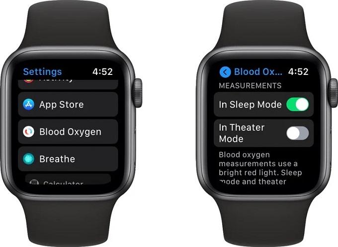 Bật cho phép đo nồng độ oxy trong máu ở chế độ rạp hát.