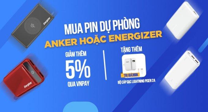 Khuyến mãi khi mua pin dự phòng Anker và Energizer tại XTmobile
