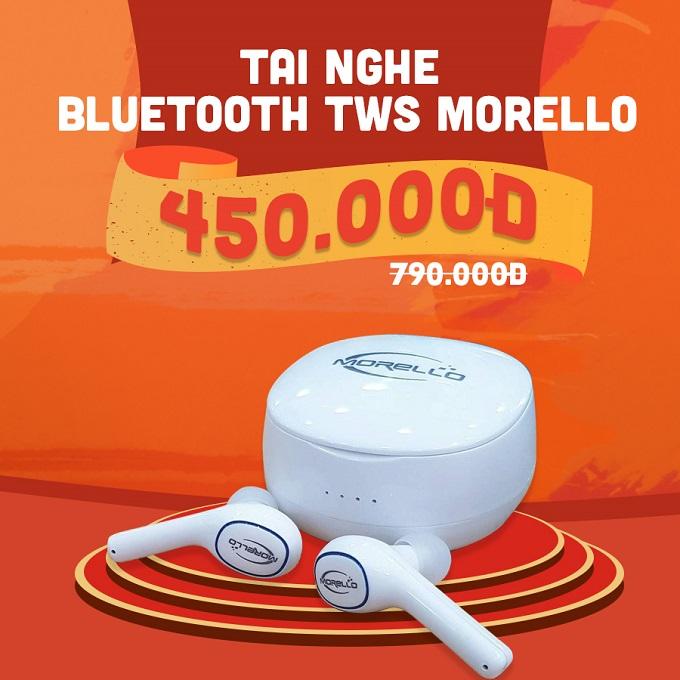 Tai nghe Bluetooth Morello E200 giảm thêm 340.000đ giá chỉ còn 450.000đ ( giá niêm yếu 790.000đ ).