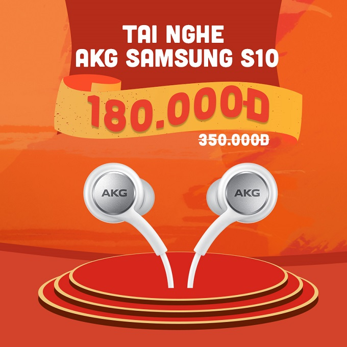 Tai nghe AKG Samsung Galaxy S10 giảm thêm 170.000đ, chỉ còn 180.000đ (giá niêm yết 350.000đ).