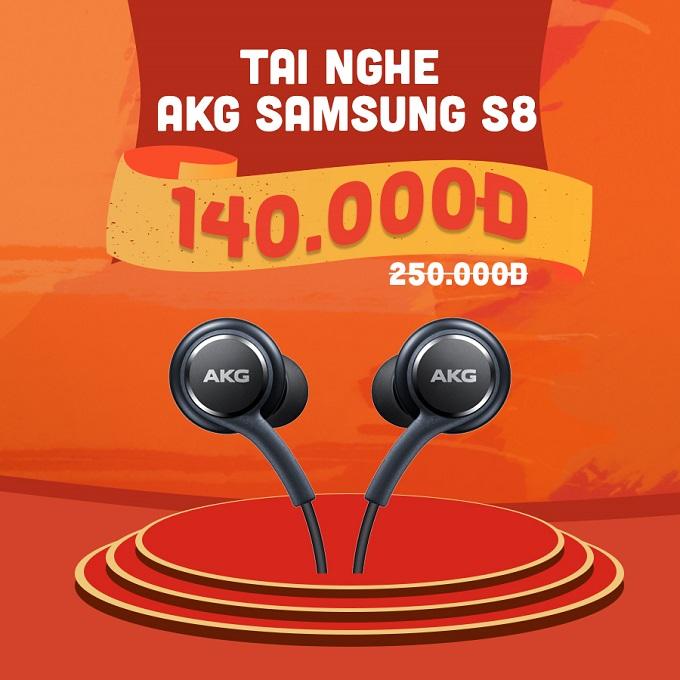 Tai nghe AKG Samsung Galaxy S8 giảm thêm 110.000đ, chỉ còn 140.000đ (giá niêm yết 250.000đ).