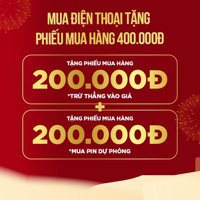 Mua điện thoại tặng Phiếu mua hàng 400.000đ