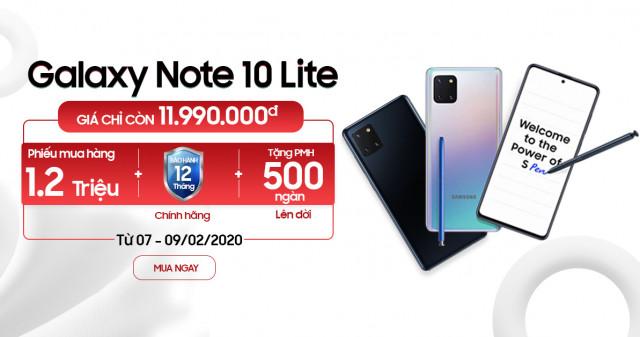 Mua Galaxy Note 10 Lite giảm thẳng 2 triệu, tặng thêm PMH trị giá 1.2 triệu