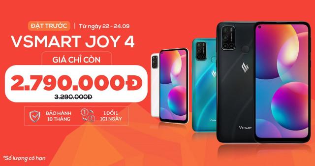 Đặt trước Vsmart Joy 4 (3GB|64GB): Smartphone giá dưới 3 triệu có 4 camera sau, pin 5.000mAh