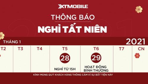 Thông báo: Cửa hàng XTmobile nghỉ sớm ngày 28/01 nhân dịp tất niên công ty