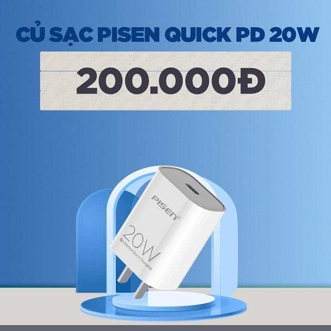 Củ sạc Pisen Quick PD 20W giảm thêm 55%, chỉ còn 200.000