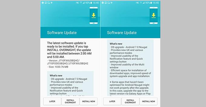 Galaxy J7 2016 cập nhật Android Nougat, Note 8 đến tay người