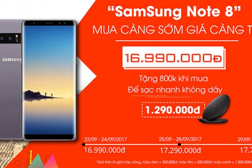 HOT SALE - GALAXY NOTE 8 GIÁ 16.990.000Đ