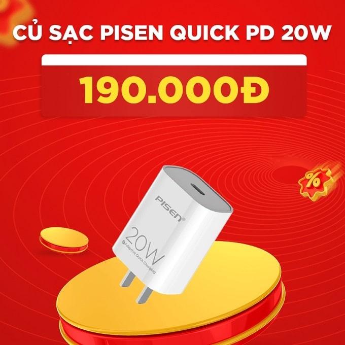 Củ sạc Pisen Quick PD 20W giảm thêm 57%