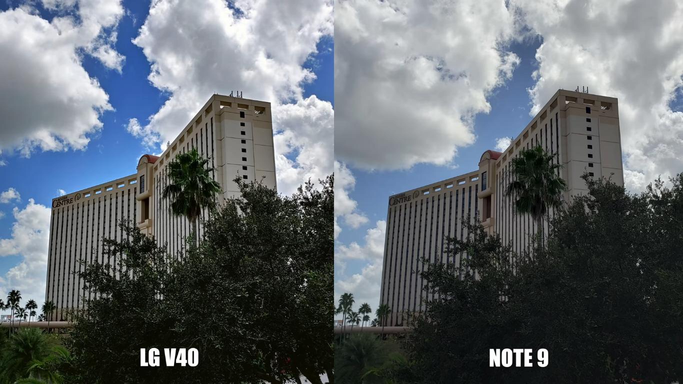 Tại thời điểm trời có mây và nắng nhè nhẹ, ảnh chụp từ LG V40 thể hiện nền trời xanh, tán cây đậm hơn so với Galaxy Note 9