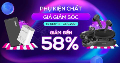 Phụ kiện xịn giá sốc: Pin dự phòng, tai nghe Bluetooth, cáp sạc giảm đến 58%