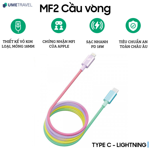Cáp Type-C to Lightning Umetravel MF2 1m - Cầu Vồng