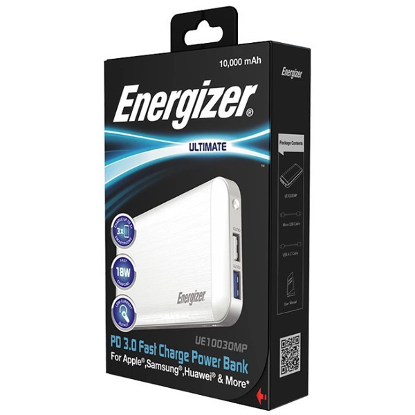 Pin dự phòng Siêu Nhân Energizer 10000mAh 18W QC 3.0 UE10030MP